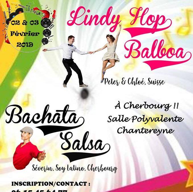 Stage de lindy-hop, balboa, salsa, bachata et soirée dansante à Cherbourg