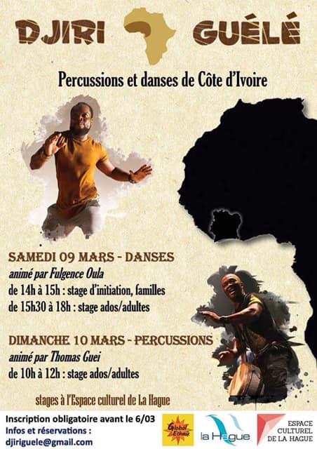 Stage danses Côte d'Ivoire et percussions à la Hague